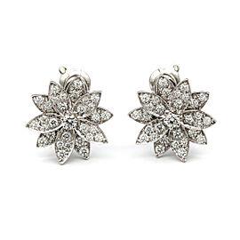 Van Cleef & Arpels Lotus Flower Stud Earrings 18K White Gold Diamonds