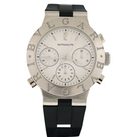 Bulgari Diagono CH40 PL Platinum Silicone/Rubber Rattrapante Chronograph Automatic 40mm Mens Watch