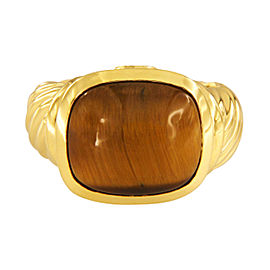 David Yurman Noblesse 18K Yellow Gold Tiger's Eye Ring Size 7