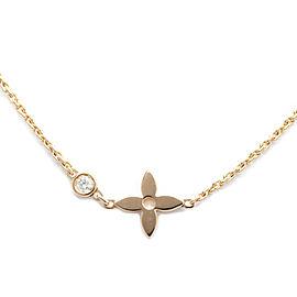 LOUIS VUITTON 18K Pink Gold Diamond Pendentif Monogram Idylle Necklace