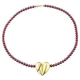 Kieselstein-Cord 18K Yellow Gold Heart Ruby & Sapphire on Garnet Necklace