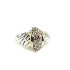 David Yurman Sterling Silver and 18K Yellow Gold 0.40ct. Diamond Shrimp Dome Ring Size 6