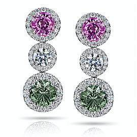 Platinum 4.33ctw. Sapphire 1.6ctw. Diamond Earrings