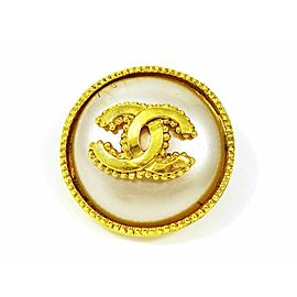 CHANEL Gold-tone Fake Pearls Coco Mark Logo Round Pin Brooch CHAT-853