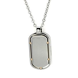 Damiani Stainless Steel & 18K Yellow Gold Diamond Dog Tag Necklace
