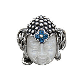 Barbara Bixby 925 Sterling Silver and 18K Yellow Gold with Mother Of Pearl and Blue Topaz Carved Buddha Ring Size 10.25