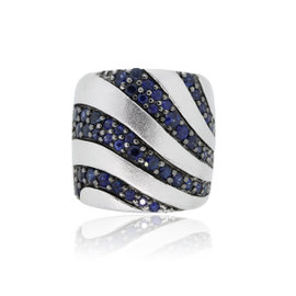 Effy 925 Sterling Silver Blue Sapphire Band Ring Size 7