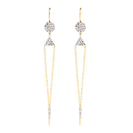 Jordan Scott Design Pave Dot and Triangle With Chain and Stick Drop Earrings