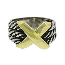 David Yurman 14k Yellow Gold and Silver X Crossover Ring