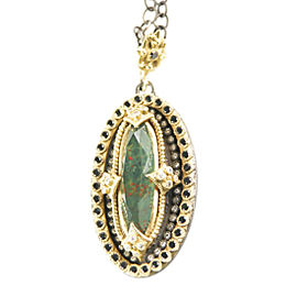 Emily Armenta 18K Yellow Gold Heraldic Bloodstone, Diamond, and Quartz Pendant Necklace