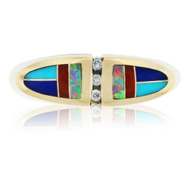 Kabana 14K Yellow Gold Diamond Enamel and Opal Cocktail Ring Size 7.25