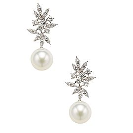 14K White Gold Diamond & White South Sea Cultured Pearl Earrings
