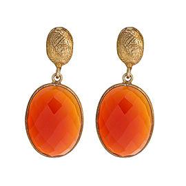 Orange Carnelian Gold Plated Sterling Silver Earring