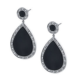 14k White Gold Black Onyx and Diamond Earrings