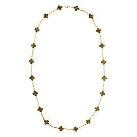 Van Cleef & Arpels 18k Yellow Gold Tiger's Eye Alhambra Necklace