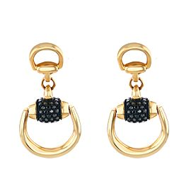 GUCCI 18k Rose Gold and Black Diamonds Horsebit Earrings