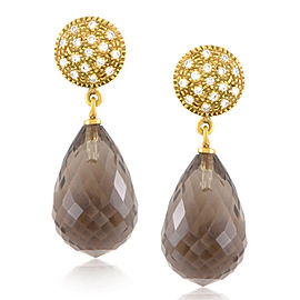 evaNueva 18K Yellow Gold Diamond & Smoky Quartz Earrings