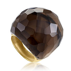 evaNueva 18K Yellow Gold Smoky Quartz Cocktail Ring