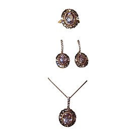14K Rose Gold Amethyst, Sapphire & Quartz Earrings, Ring & Necklace Set