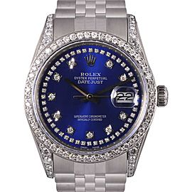 Rolex Datejust Stainless Steel Blue String Diamond Dial, Lugs & Bezel 36mm Mens Watch
