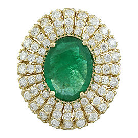 6.94 Carat Emerald 14K Yellow Gold Diamond Ring