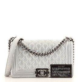 Chanel Boy Flap Bag Quilted Perforated Lambskin Old Medium