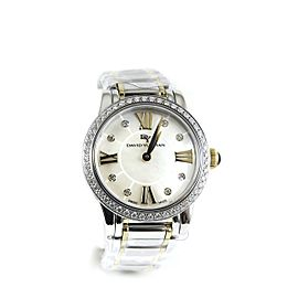 David Yurman Stainless Steel 18K Yellow Gold .73tcw 30mm Quartz White Mother of Pearl Diamond Dial Diamond Bezel Classic Watch