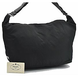 PRADA Nylon Leather Shoulder Bag Black