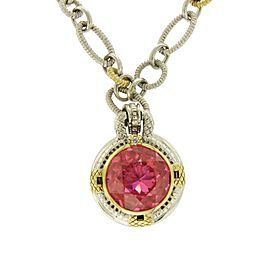 Judith Ripka 925 Sterling Silver & 18k Yellow Gold Pink Crystal & Diamond Necklace