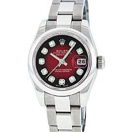 Rolex Datejust 179160 Stainless Steel Red Vignette Diamond 26mm Watch