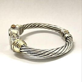 DAVID YURMAN CABLE CHELSEA 925 Silver & 14K GP Bracelet Watch 0.82 DIAMONDS Mother Of Pearl Dial
