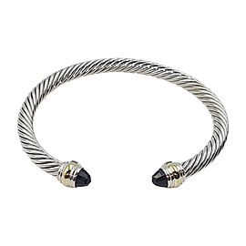 David Yurman Cable Sterling Silver 14K Yellow Gold Black Onyx Bracelet