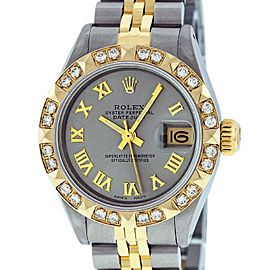 Rolex Datejust Stainless Steel and 18K Yellow Gold Slate Grey Roman Dial 26mm Women's Watch
