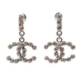 Chanel Silver Tone Hardware with Rhinestone Bar Rocky CC Dangle Piercing Earrings