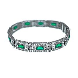 Platinum, Diamond and Simulated Emerald Bracelet, France