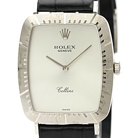 Vintage ROLEX Cellini 18K White Gold Hand-Winding Mens Watch 4087