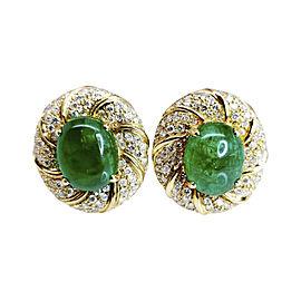 18K Yellow Gold Diamond & Cabochon Cut Colombian Emerald Earrings