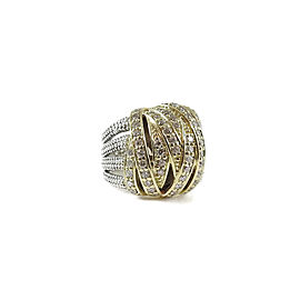 Lagos Caviar 18K Yellow Gold, Sterling Silver Diamond Ring Size 6