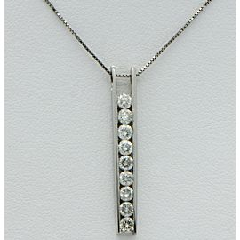 14K White Gold Diamond Ladder Pendant