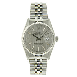 Rolex Datejust 1601 Stainless Steel / White Gold Silver Tapestry Dial Automatic 36mm Mens Watch