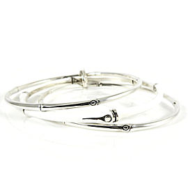 John Hardy Sterling Silver White Enamel Bamboo Bangle Set of 3
