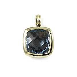 David Yurman Sterling Silver 18K Yellow Gold 20mm Blue Topaz Albion Enhancer