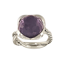 David Yurman Continuance 925 Sterling Silver with Orchid Ring Size 7.5