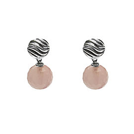 David Yurman Rose Quartz Sterling Silver Ball Drop Earrings