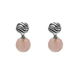 David Yurman Rose Quartz Sterling Silver Ball Drop Earrings