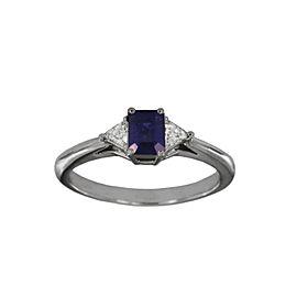 Tiffany & Co. Platinum Blue Sapphire and Diamond Ring