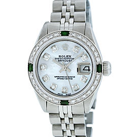 Rolex Ladies Datejust 6917 Stainless Steel & 18K White Gold Mother of Pearl Diamond and Emerald 26mm Watch