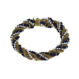 Cartier Twisted Gold, Lapis and Cultured Pearl Bracelet