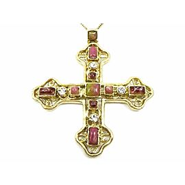 CHANEL Gold-tone Cross Pendant Necklace CHAT-851