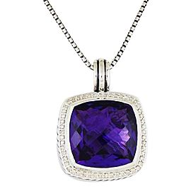 David Yurman Albion Pendant Enhancer with Amethyst and Diamonds, 17 mm